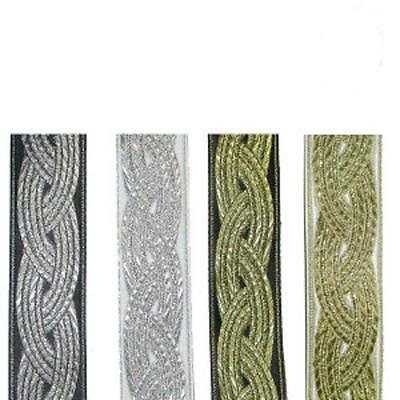 "1.3//16/"" Celtic Weave Jacquard Ribbon Trim x 1 yd various colours"