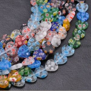 Lots-Multi-Color-Heart-Millefiori-Glass-Craft-Charms-Spacer-Beads-8MM-10MM-12MM