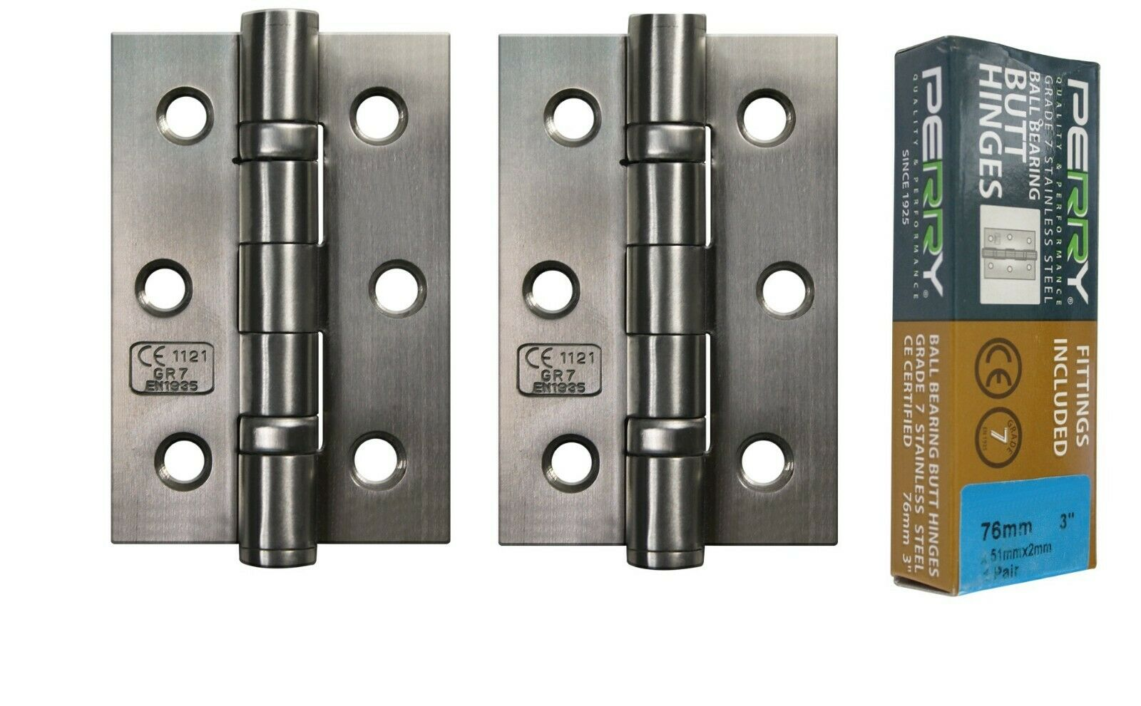 PERRY SATIN 75mm Stainless Steel Ball Bearing Butt Hinges Grade 7 CE Marked D1