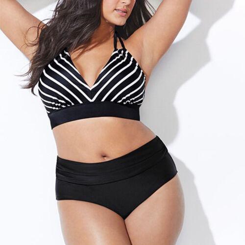 Plus Size Womens Padded Striped Halter High Waist Bikini Set Swimwear Beachwear