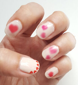 Translucent Faded Heart Red Pink Water Transfers Nail Art Sticker