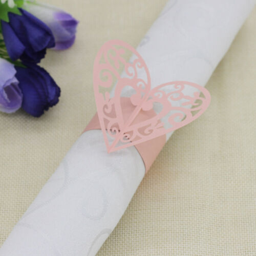 100x Paper Pink Heart Napkin Ring Holder Wedding Christmas Party Table Decor