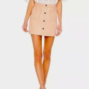 Aje-Blush-Shrimpton-Mini-Skirt-100-Leather-Size-12-RRP-390
