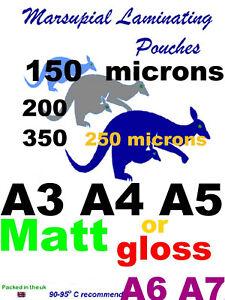 100 laminating pouches A3 A4 A5 A6 A7 luggage ID CC badge 6090 + slot gloss matt