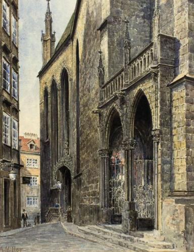 Replica Artwork A4 Print Watercolour Painting of a Church by Adolf Hitler