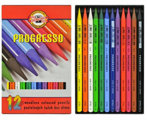 KOH I NOOR Progresso Woodless Coloured Pencils New Set of 6 or 12 or 24