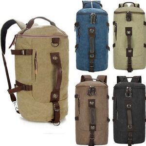 a32c591204bf Image is loading Men-Vintage-Leather-Canvas-Travel-Backpack-Luggage-Duffle-