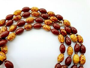 "Vintage 48"" Murano Glass Scottish Moss Agate Bead Necklace Flapper Length"