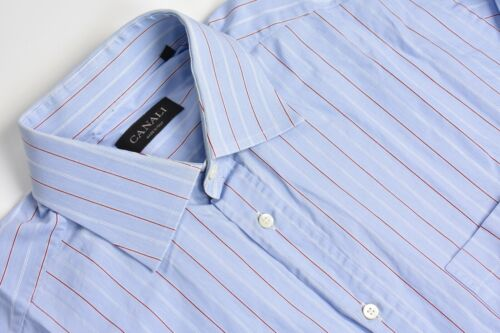 Canali Light Blue w/ Red/White Striped Point Colla