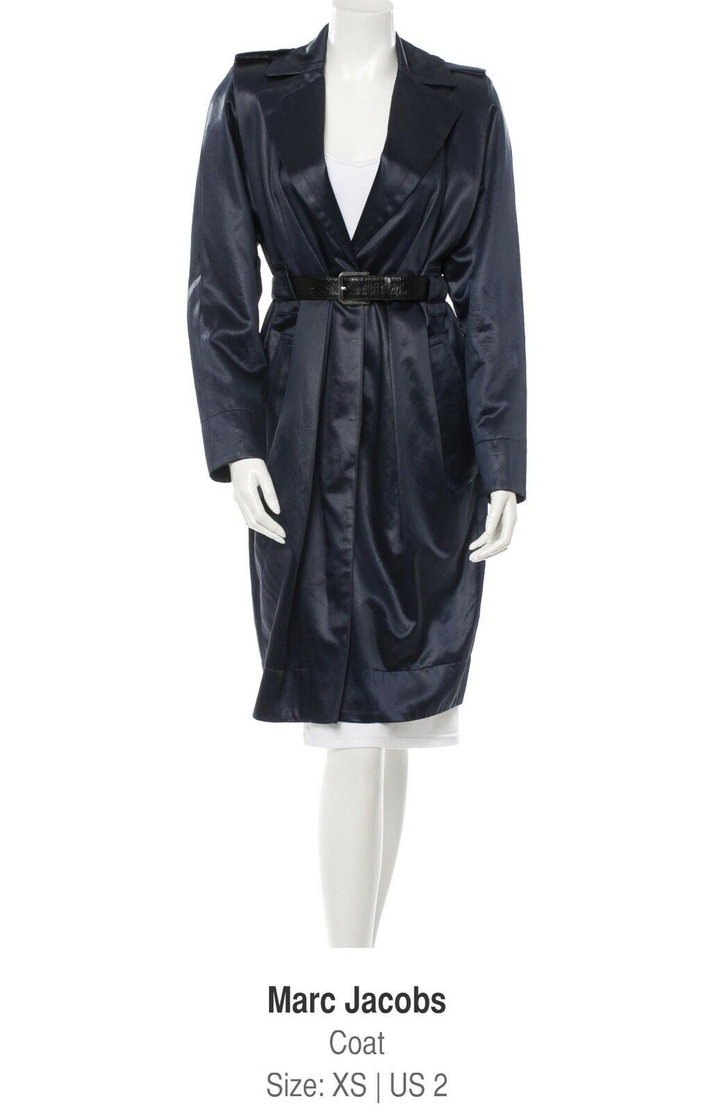 Marc Jacobs Satin Navy bluee Trench coat Size 2 XS Belt approx. Preowned