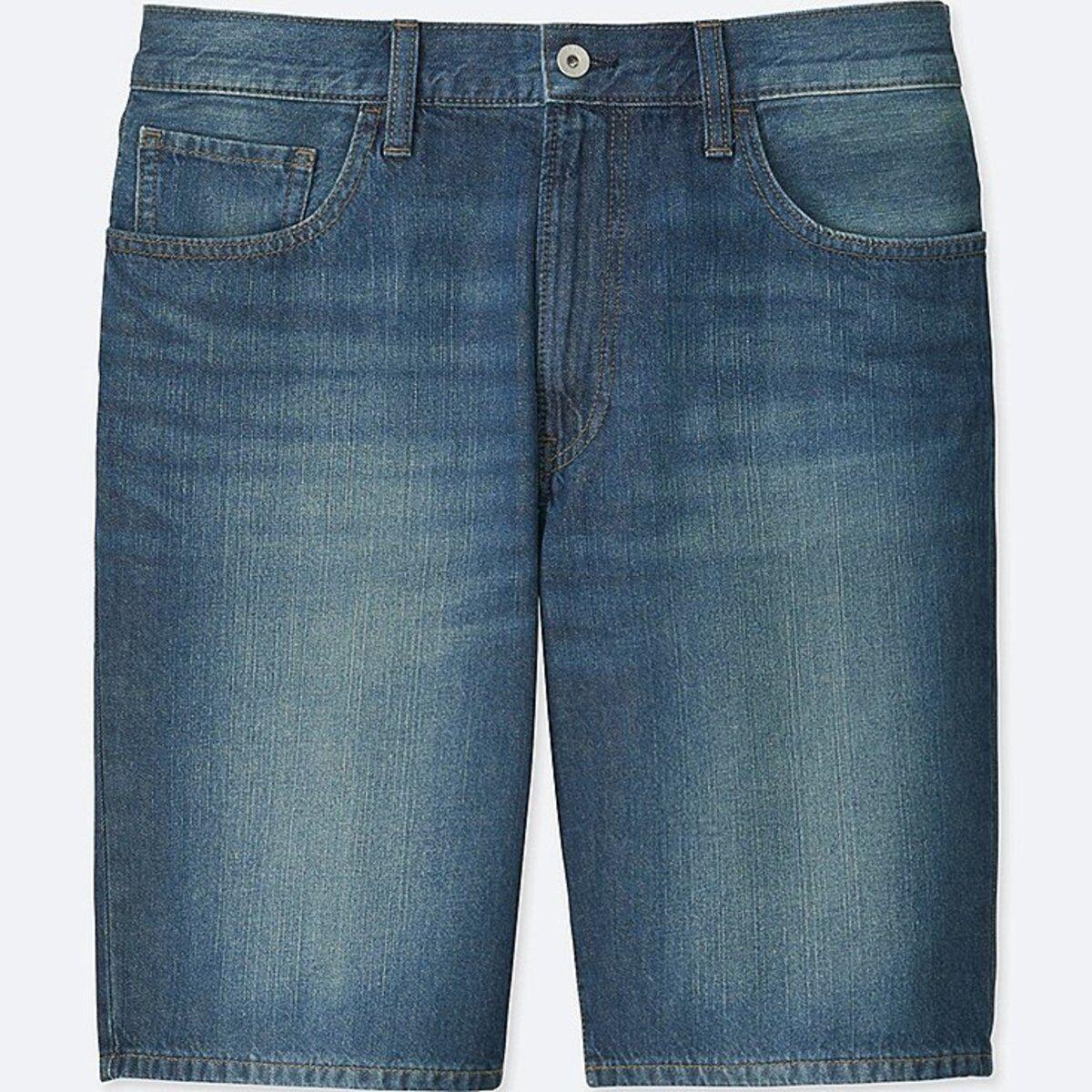 14438cbb3c73e UNIQLO Men's Faded Denim Cotton Jean Shorts blueE (66) MEDIUM 30 ...
