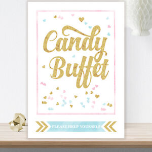 Candy Buffet Sweet Table Sign With Gold Glitter Effect Weddings Baby