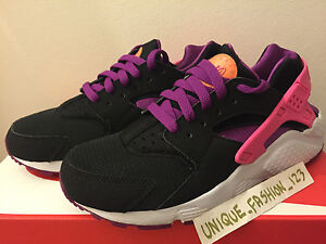 e0783c3a3414 NIKE AIR HUARACHE RUN GS BLACK BOLD BERRY PINK 3 3.5 4 4.5 5.5 6 LE ...