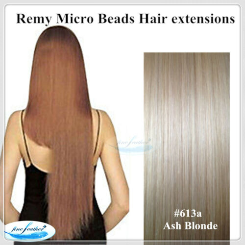 "22""India Remy Micro Beads Hair extensions50pcs #613a Ash Blonde DOUBLE DRAWN"