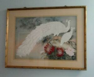 """ART Whiite Peacock Gouache on Silk  32"""" x 42""""  Matted and MCM Framed Showa Era"""