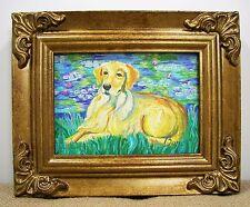 Paw Palettes Golden Retriever Bonet Framed Canvas Art by Gretchen Kish Serrano