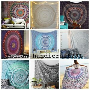 Indische-Mandala-Tapisserie-Hippie-Bettwaesche-Tagesdecke-Cover-Wall-Art-Throw