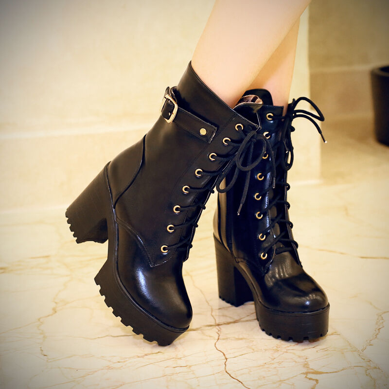 Womens shoes Lace Up Chunky Heel Platform Punk Goth Creeper Ankle Boot Plus size