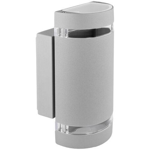 2 x GU10 5W warmeiß Wandlampe up/&down Außen-Wandleuchte Alu grau