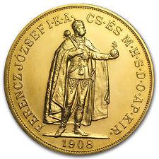 1908 Hungary 100 Korona Gold Coin - AU/BU/Restrike - SKU #64625