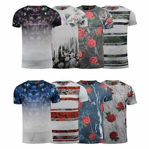 Mens-T-Shirt-Juice-Floral-Print-Flower-Crew-Neck-Tee-Top