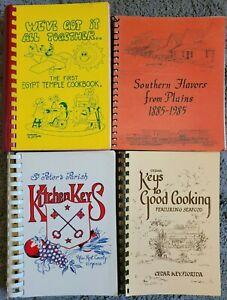 4 SPIRAL COOKBOOKS LOT COMMUNITY LOCAL COOK BOOK VINTAGE HTF RECIPES