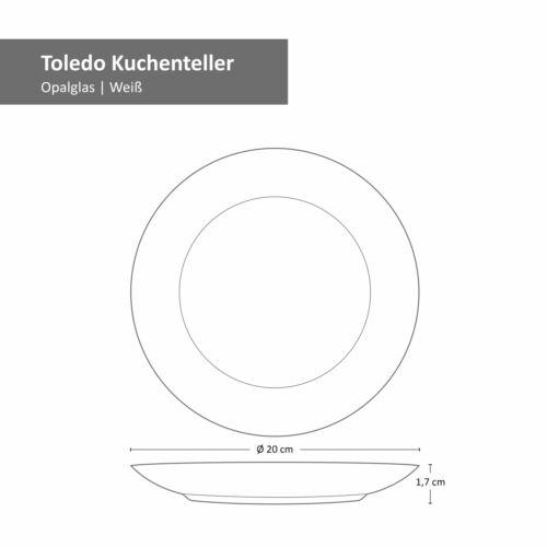 Dessertteller Set Ø 20 cm I Rund I Weißes Opalglas Bormioli Rocco Toledo 6-tlg