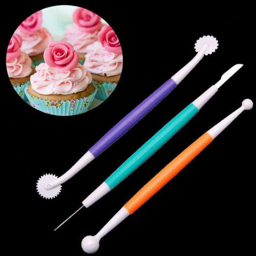 3PCS Plastic Carving Baking Tool Cake Decorating Fondant Modelling Cookies Set