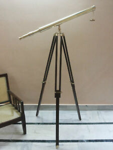 ANTIQUE-NAUTICAL-BRASS-TELESCOPE-WITH-WOODEN-TRIPOD-STAND