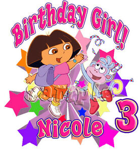Personalized Custom DORA Birthday Party Gift T Shirt Name /& Age On Shirt