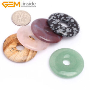 Natural-Gemstones-Round-Donut-Pendant-Beads-For-Jewellery-Making-1-Pcs-UK