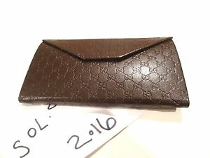 c761ecc074b NEW Gucci Brown GG Guccissima Leather Flap Wallet Hard Case Coin ...