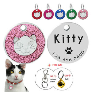 Engraved-Cat-Tag-Disc-Personalised-Puppy-Kitten-Name-ID-Collar-Tags-Glitter-25cm