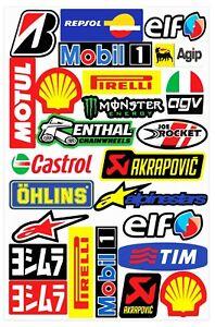 Set-25-PVC-Vinyle-Autocollants-Agip-Elf-Shell-Castrol-Stickers-Voiture-Auto-Moto
