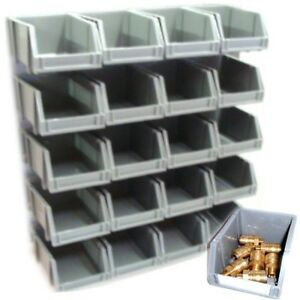 Image Is Loading 20 STORAGE BINS KIT WITH WALL MOUNT STACKING