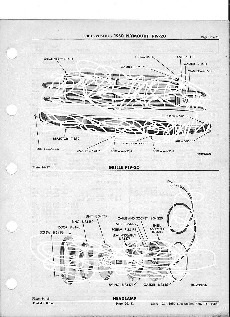 1950 Plymouth P19 P20 Nos Exterior Collision Parts Guide 11 X 17