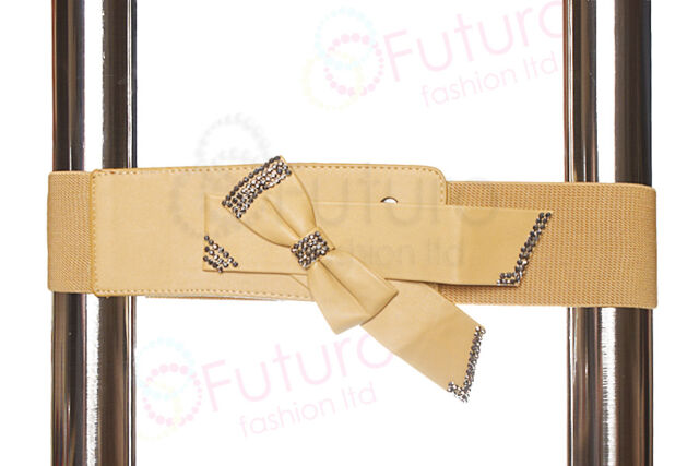 Clearance Elasticated Belt With Bow Waistband Buckle Wide Belt FP15