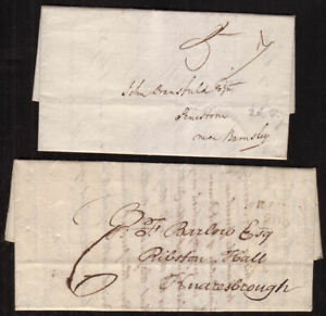 TWO-PRE-STAMP-COVERS-YORKSHIRE-CANCELS-LEEDS-TO-BARNSLEY-RIPON-TO-KNARESBROUGH