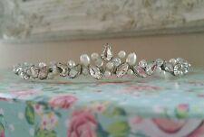 Handmade Bridal Prom Clear Crystals ivory Pearl Silver Tiara headband bridesmaid