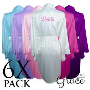 6-PACK-Bridal-Wedding-Bride-Bridesmaid-Dressing-Gowns-Satin-Robes-Personalised