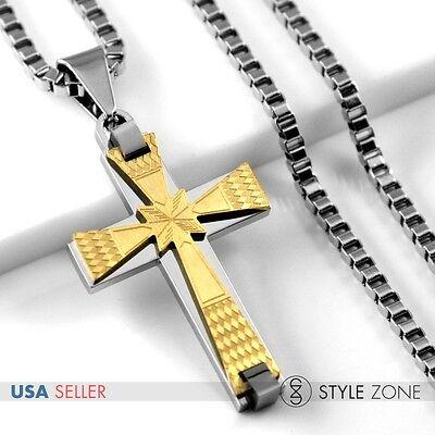Girl/'s Stainless Steel Golden Mini Grid Pattern Small Cross Pendant Necklace 13K