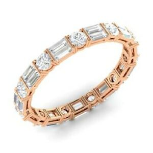 2.00 Ct Solitaire Moissanite Anniversary Proposal 18K Rose Gold Eternity Band