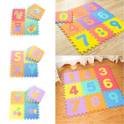 10* Baby Soft EVA Foam Play Mat Alphabet Numbers Puzzle DIY Toy Floor Tile Game