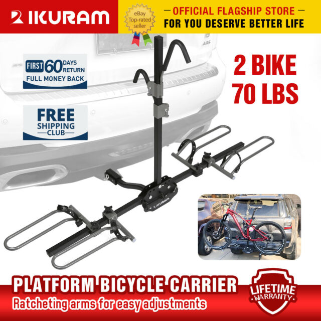 "IKURAM 2 Bike Bicycle Platform 2/"" Heavy Duty Hitch Mount Carrier Rack Car Truck"