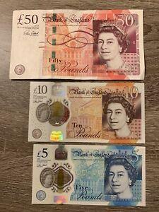 50 + 10 + 5 British Pound Banknotes. 3 Cir Bank England Bills. 65 Pounds Total h