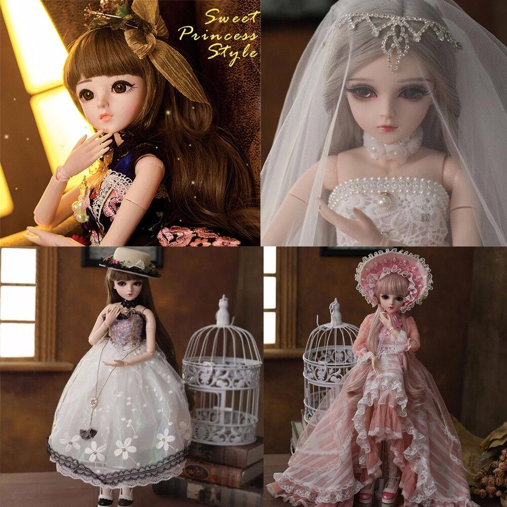60cm 1 3 BJD Doll Mädchen Puppe Gesicht Make-Up Augen Wig Toy Mit Puppenkleid