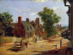PAINTING-URBAN-LANDSCAPE-MAYER-FRANCIS-STREET-OLD-ANNAPOLIS-REPRO-PRINT-PAM2165