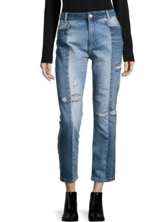 NEW Free People The Patchwork Seamed Skiny Crop Jeans Size 29 Distressed