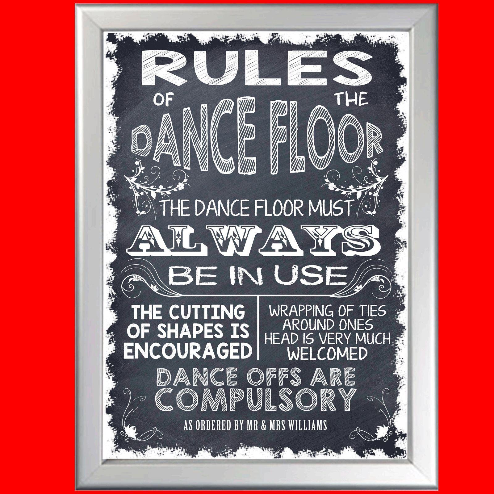 Personalised ricevimento di nozze regole della pista da ballo ballo ballo Lavagna POSTER NUOVO 807404