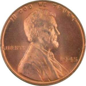 1945-1c-Lincoln-Wheat-Cent-Penny-US-Coin-BU-Uncirculated-Mint-State